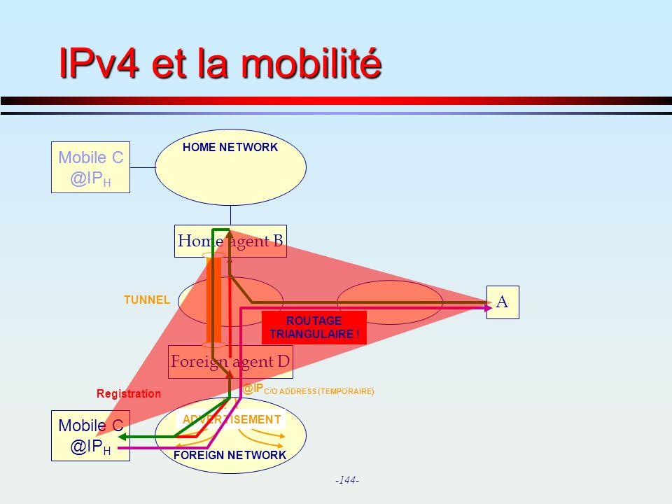 IPv4 et la mobilité Mobile C @IPH Home agent B A Foreign agent D