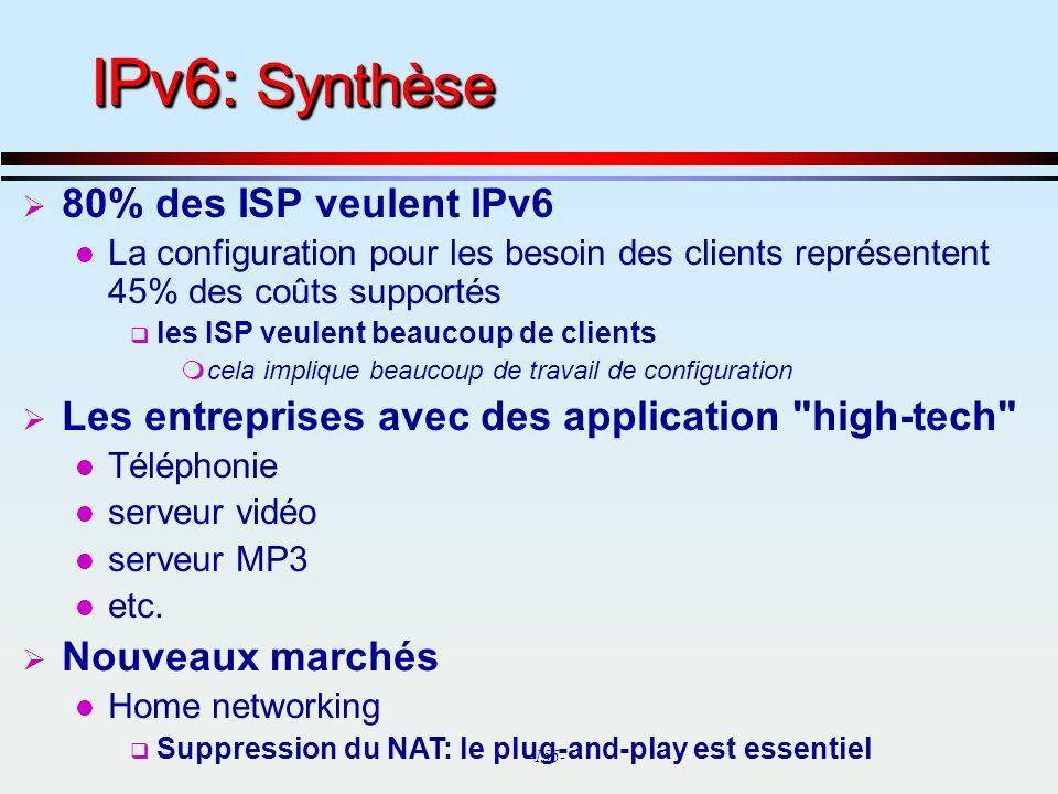IPv6: Synthèse 80% des ISP veulent IPv6
