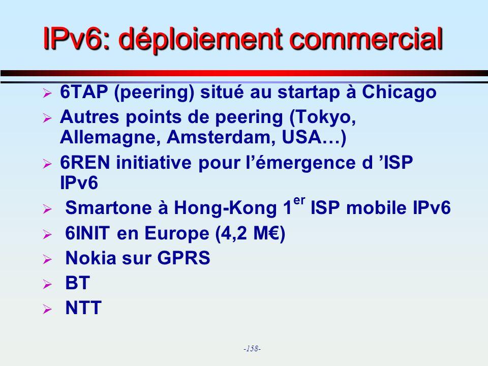 IPv6: déploiement commercial