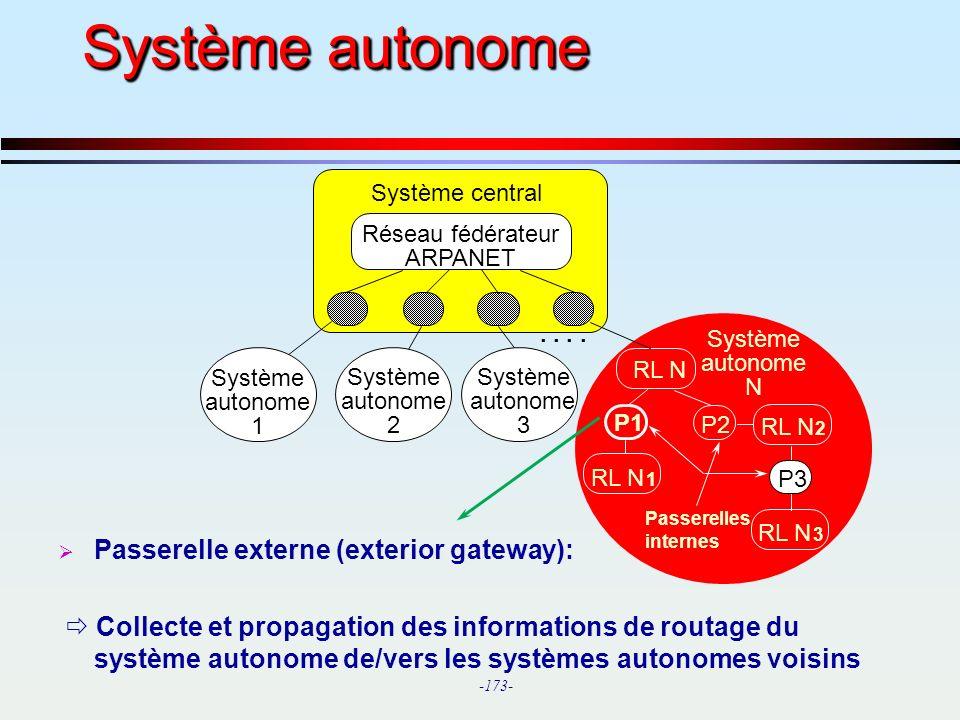 Système autonome Passerelle externe (exterior gateway):