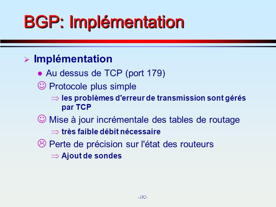BGP: Implémentation Implémentation Au dessus de TCP (port 179)