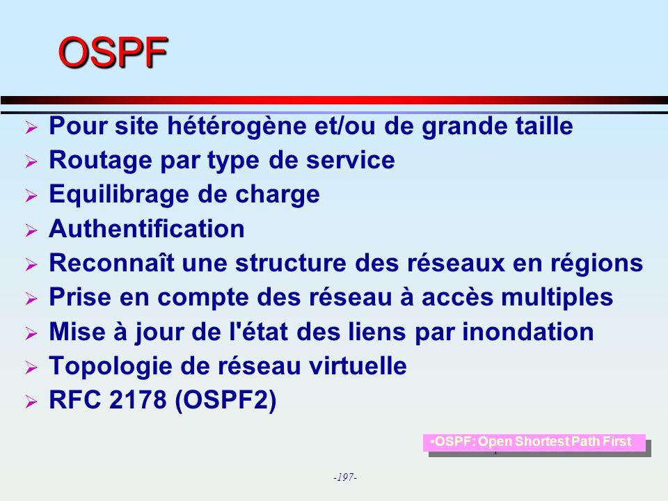 OSPF Pour site hétérogène et/ou de grande taille