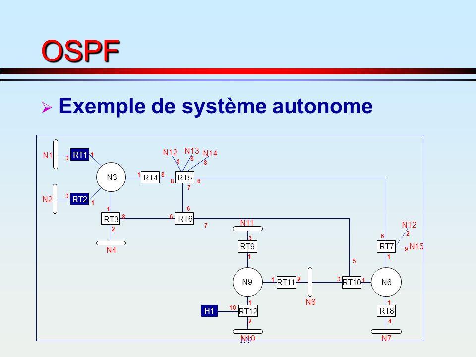 OSPF Exemple de système autonome N13 N1 RT1 N12 N14 N3 RT4 RT5 N2 RT2