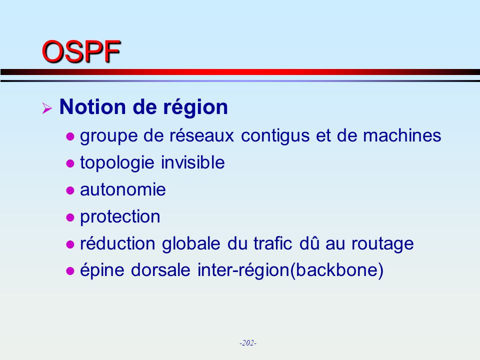 OSPF Notion de région groupe de réseaux contigus et de machines