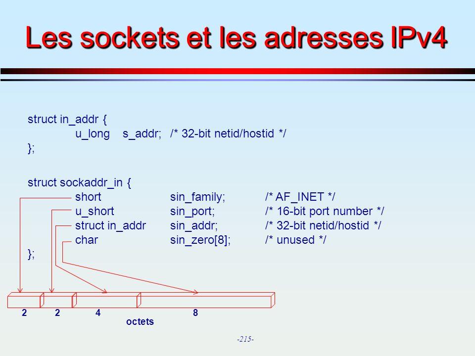 Les sockets et les adresses IPv4