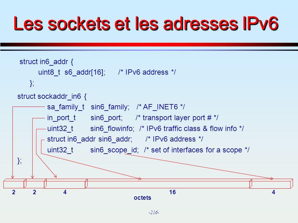 Les sockets et les adresses IPv6