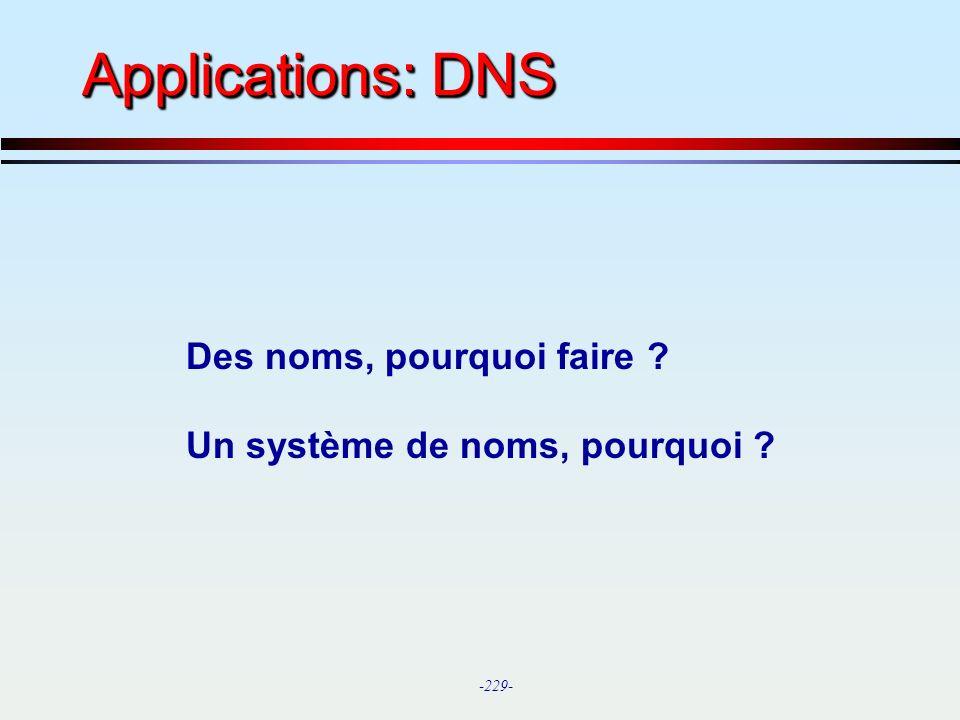 Applications: DNS Des noms, pourquoi faire