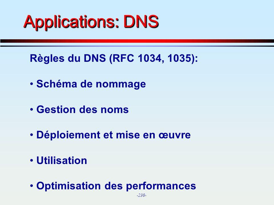 Applications: DNS Règles du DNS (RFC 1034, 1035): Schéma de nommage