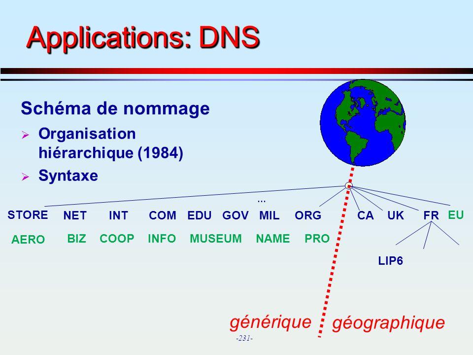 Applications: DNS Schéma de nommage générique géographique