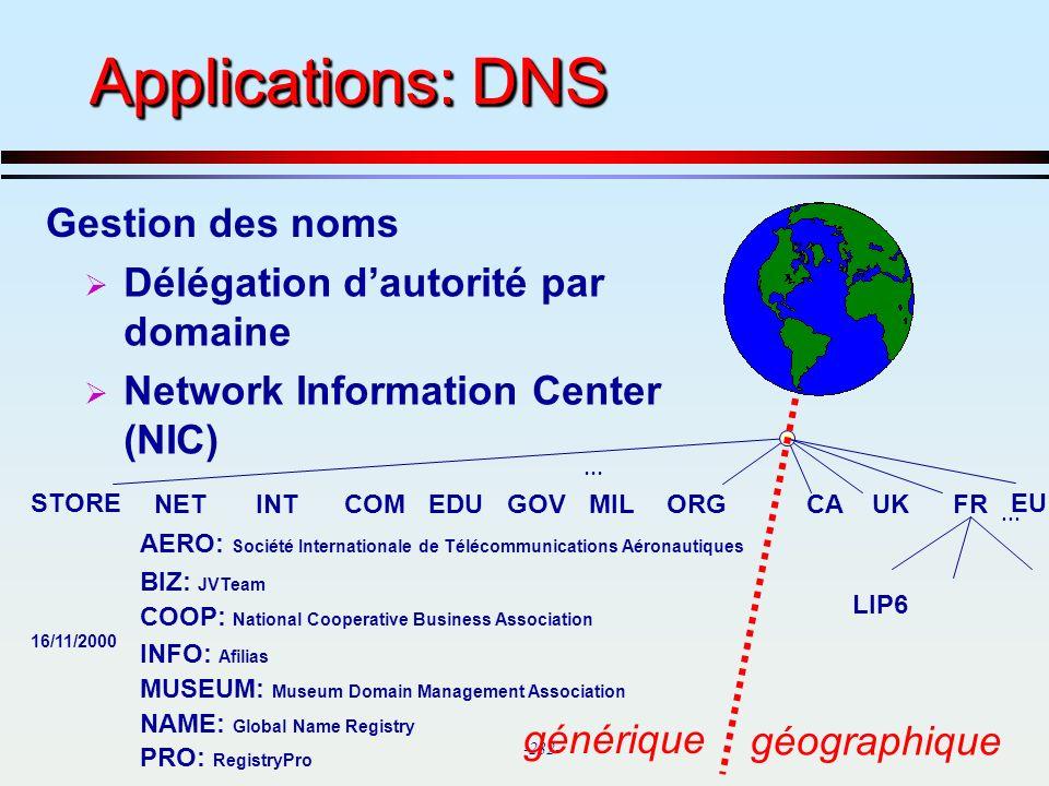 Applications: DNS Gestion des noms Délégation d'autorité par domaine