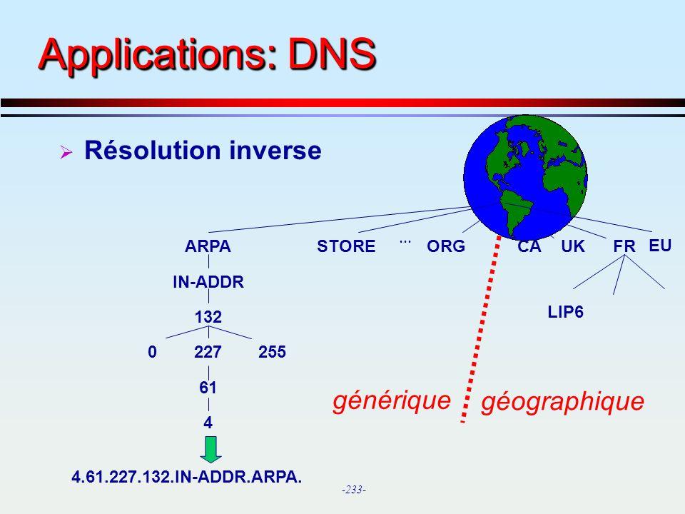 Applications: DNS Résolution inverse générique géographique ARPA STORE