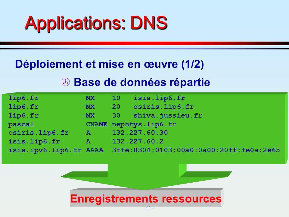 Applications: DNS Déploiement et mise en œuvre (1/2)
