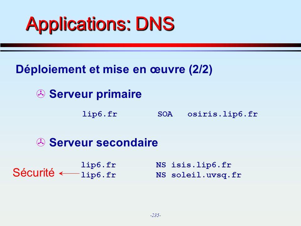 Applications: DNS Déploiement et mise en œuvre (2/2) Serveur primaire