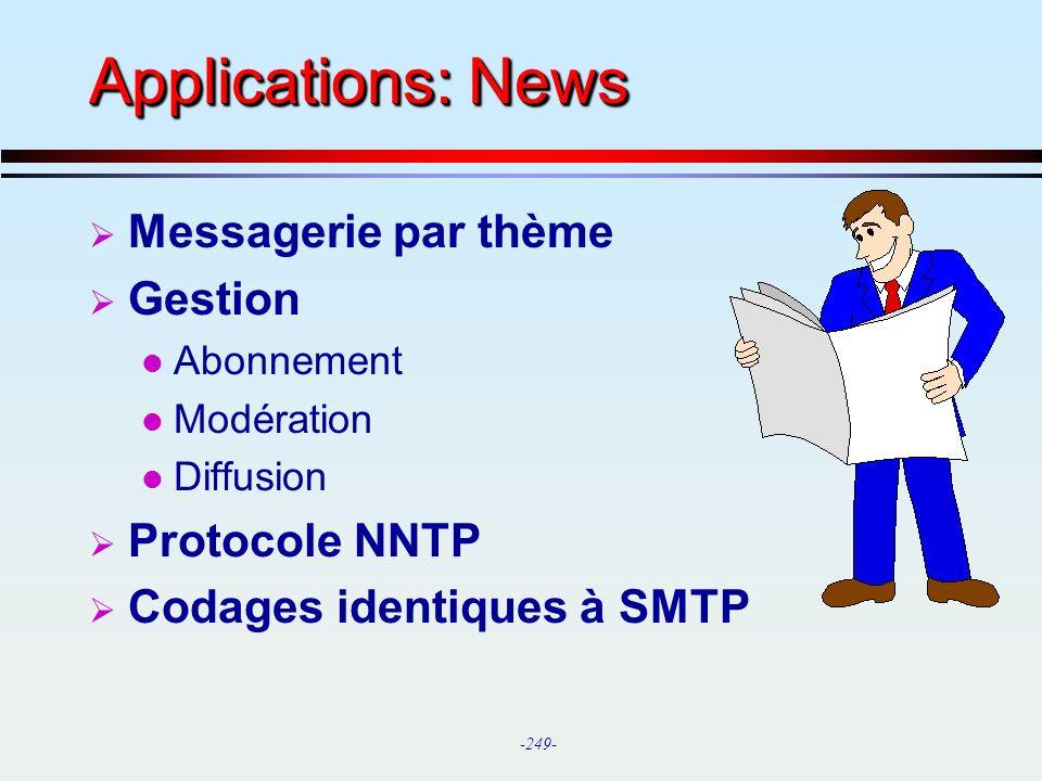 Applications: News Messagerie par thème Gestion Protocole NNTP