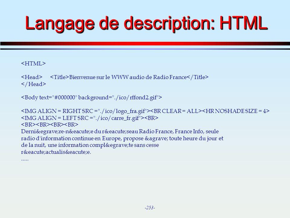 Langage de description: HTML