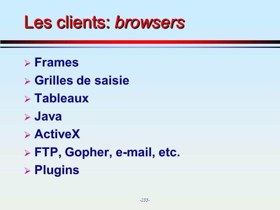 Les clients: browsers Frames Grilles de saisie Tableaux Java ActiveX