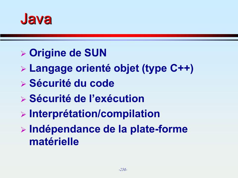 Java Origine de SUN Langage orienté objet (type C++) Sécurité du code