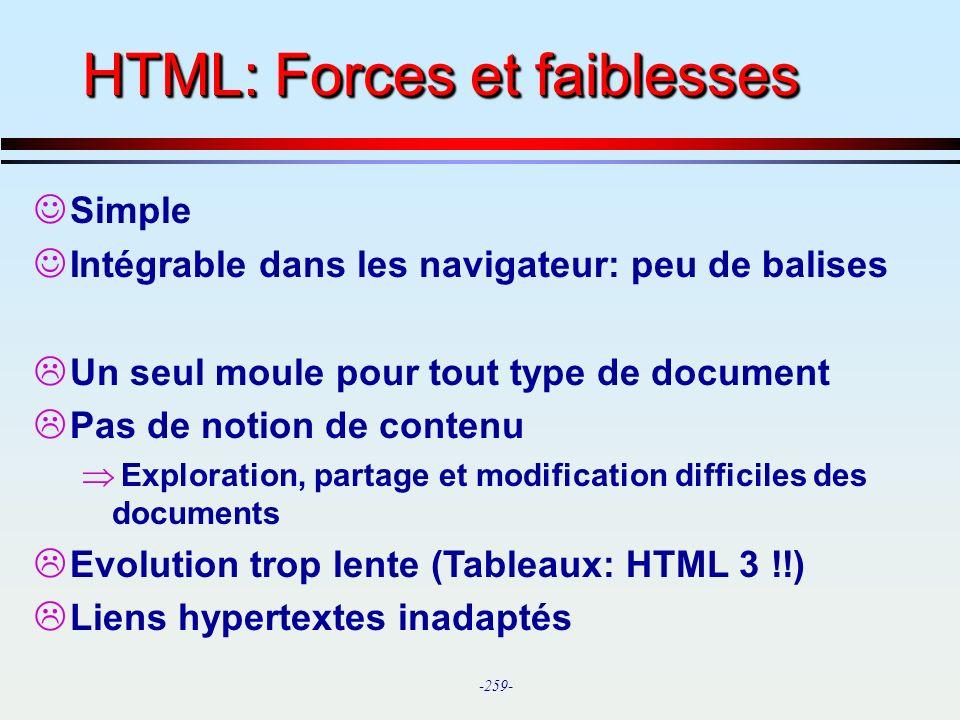 HTML: Forces et faiblesses