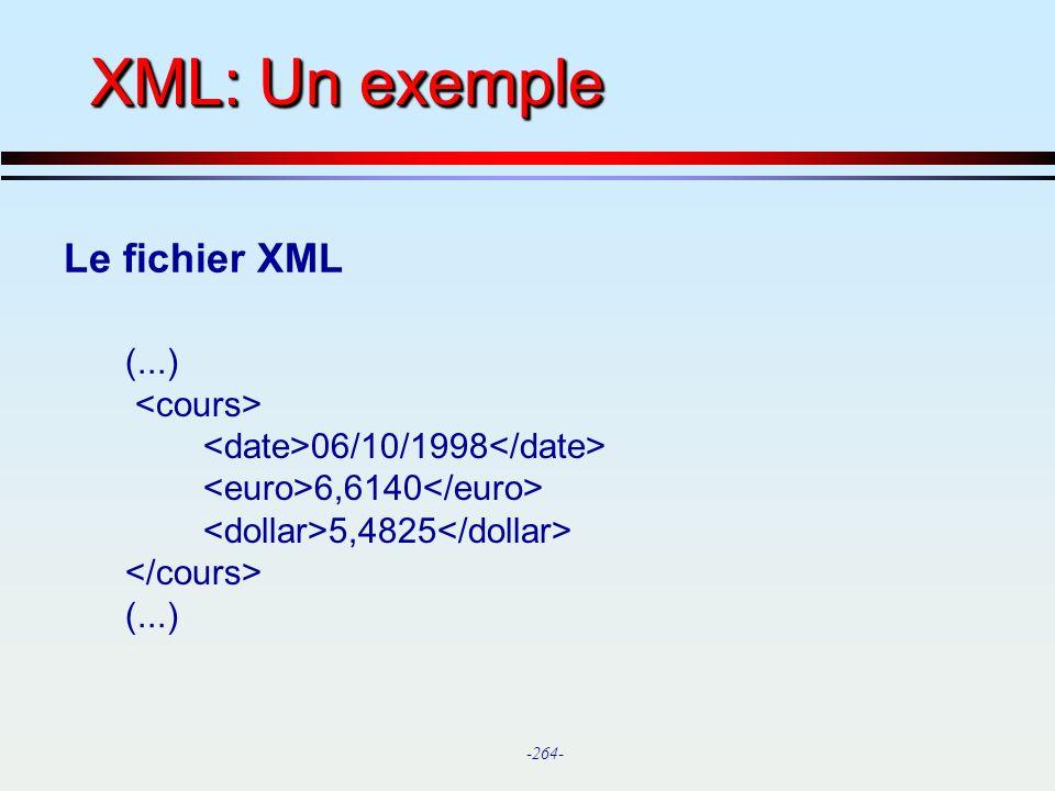 XML: Un exemple Le fichier XML (...) <cours>
