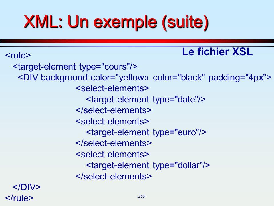 XML: Un exemple (suite)