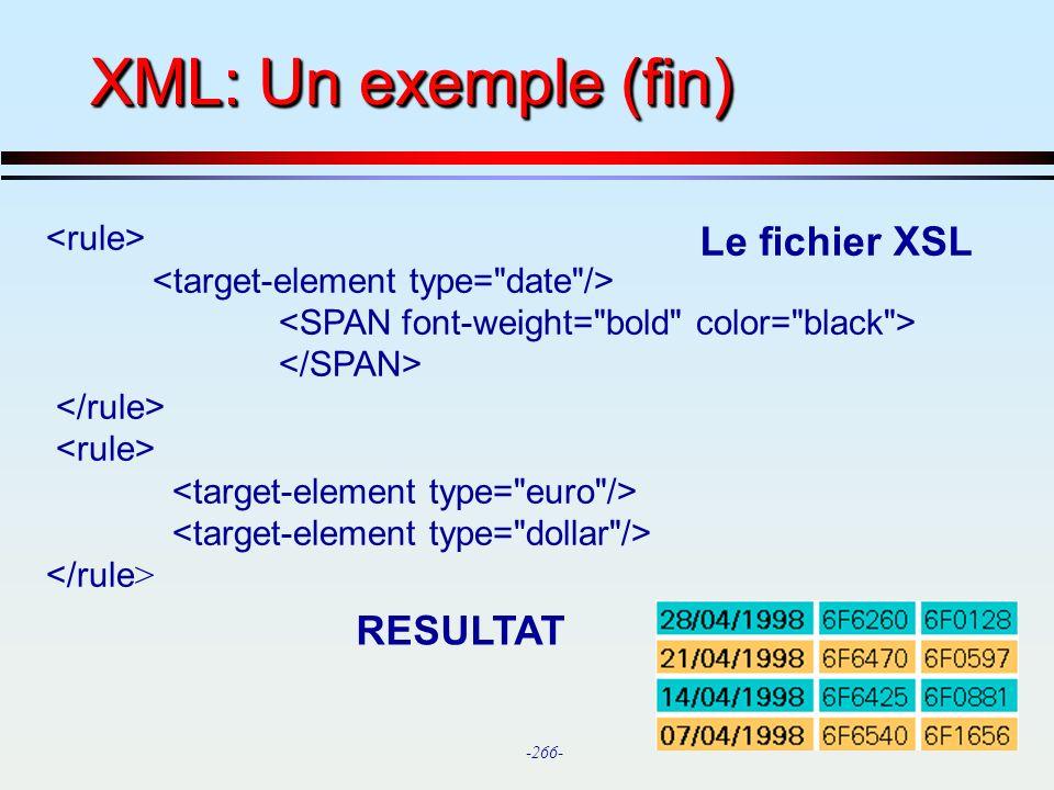 XML: Un exemple (fin) Le fichier XSL RESULTAT <rule>