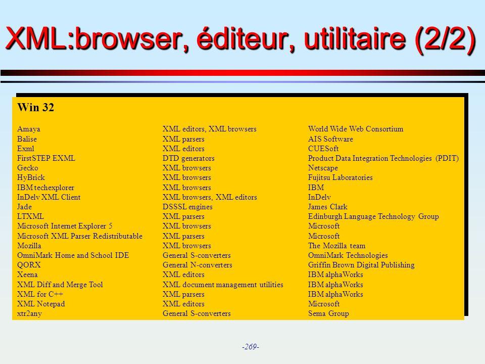 XML:browser, éditeur, utilitaire (2/2)