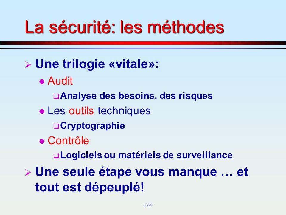 La sécurité: les méthodes