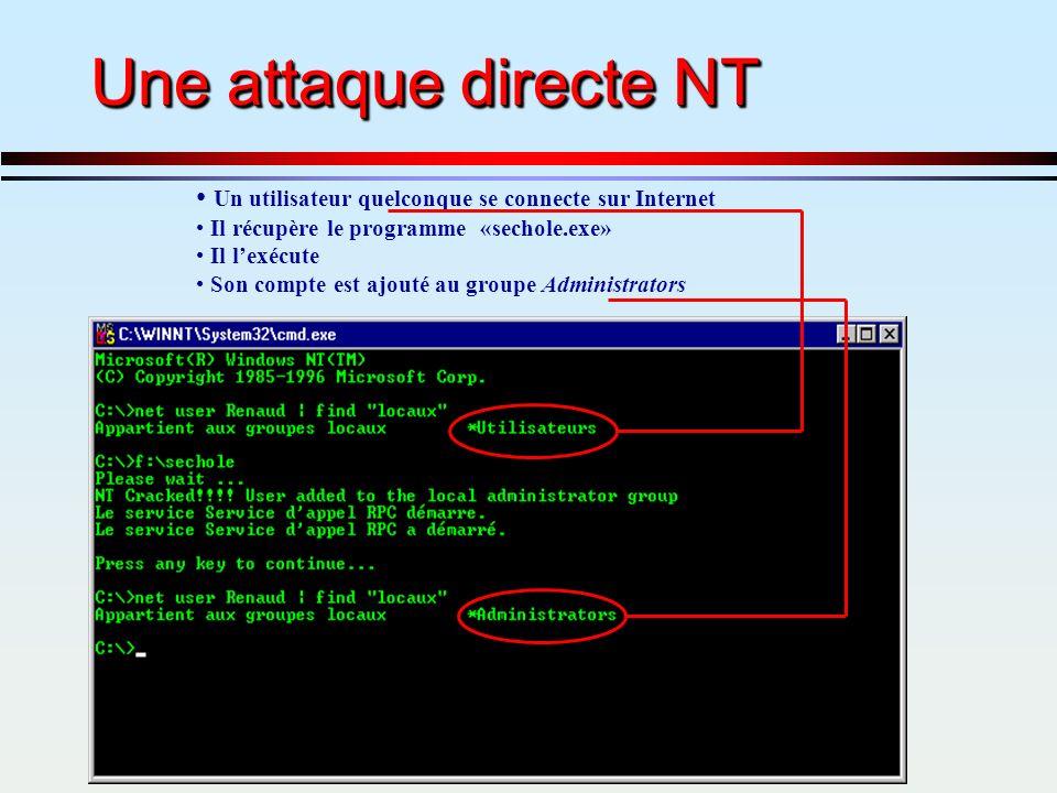 Une attaque directe NT Un utilisateur quelconque se connecte sur Internet. Il récupère le programme «sechole.exe»
