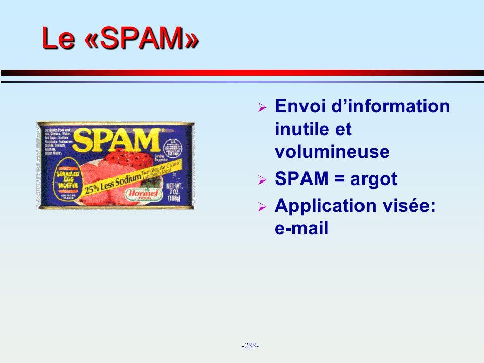 Le «SPAM» Envoi d'information inutile et volumineuse SPAM = argot