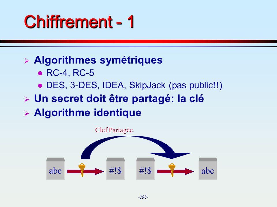Chiffrement - 1 Algorithmes symétriques
