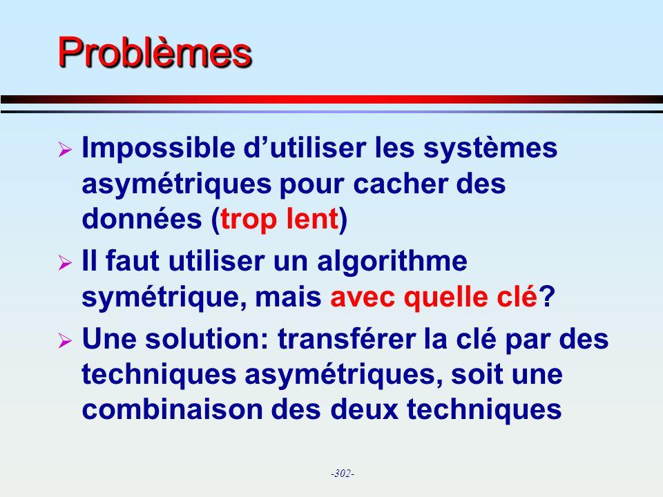 Problèmes Impossible d'utiliser les systèmes asymétriques pour cacher des données (trop lent)