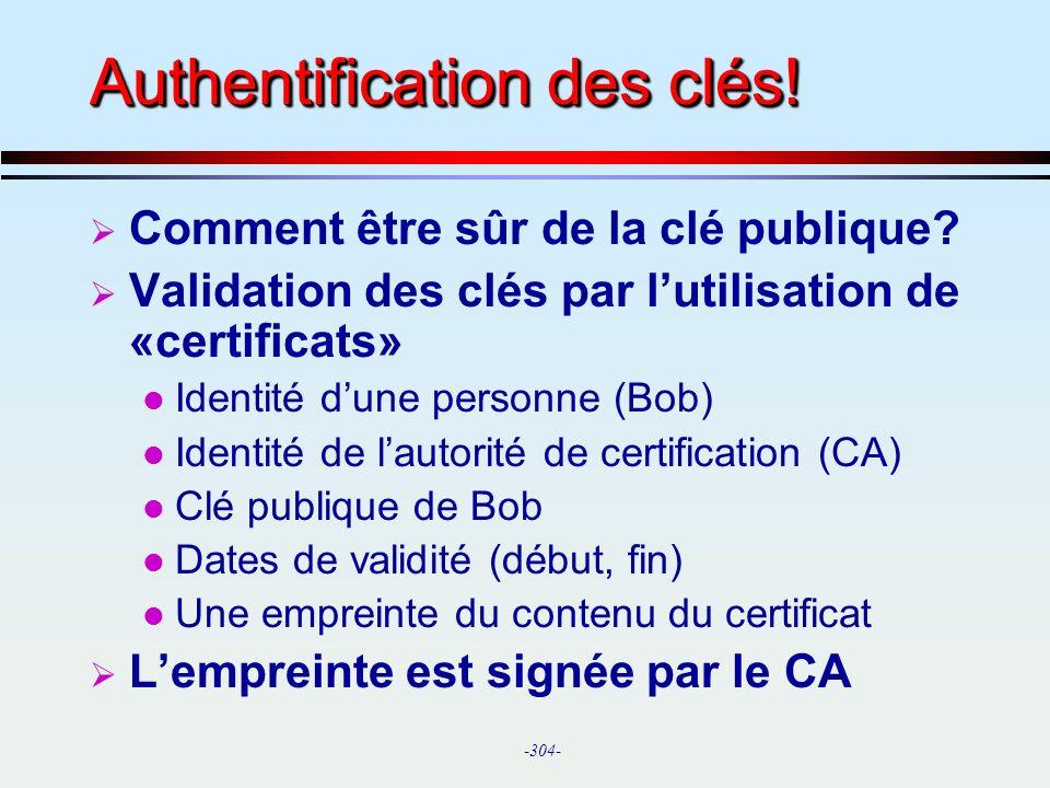 Authentification des clés!