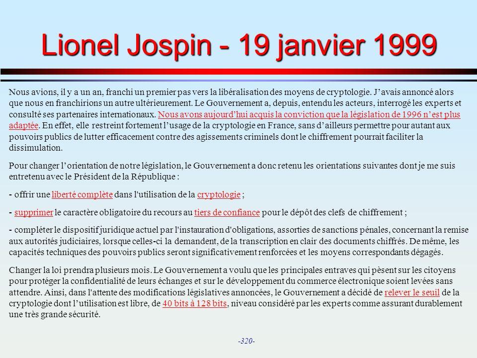 Lionel Jospin - 19 janvier 1999