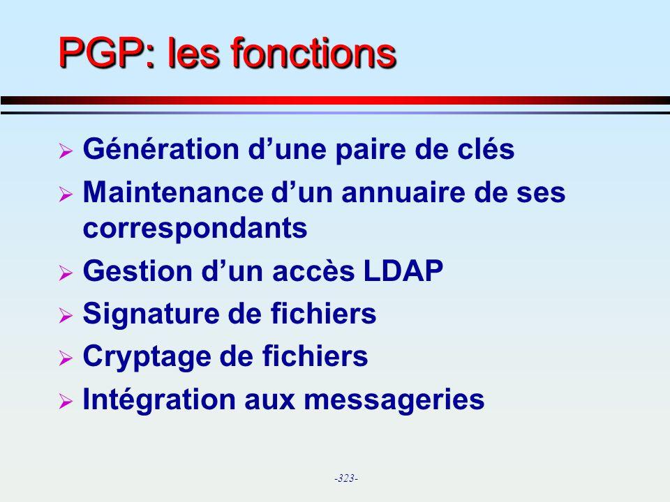 PGP: les fonctions Génération d'une paire de clés