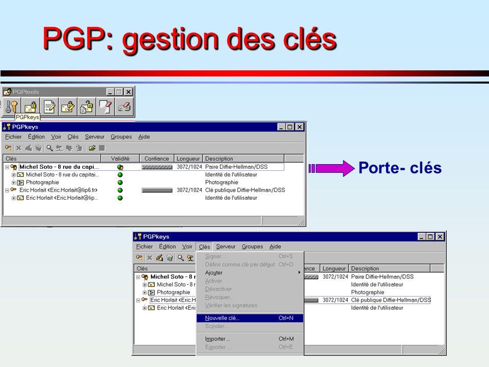 PGP: gestion des clés Porte- clés