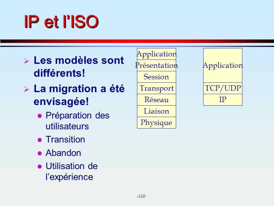IP et l'ISO Les modèles sont différents! La migration a été envisagée!