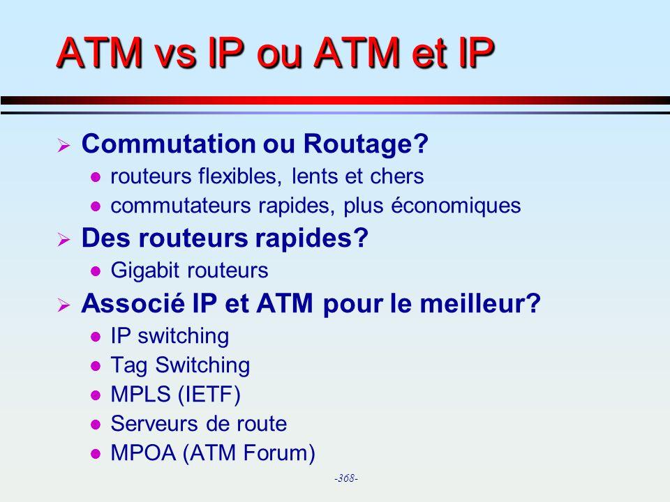 ATM vs IP ou ATM et IP Commutation ou Routage Des routeurs rapides