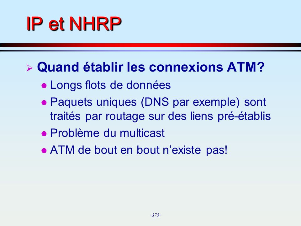 IP et NHRP Quand établir les connexions ATM Longs flots de données