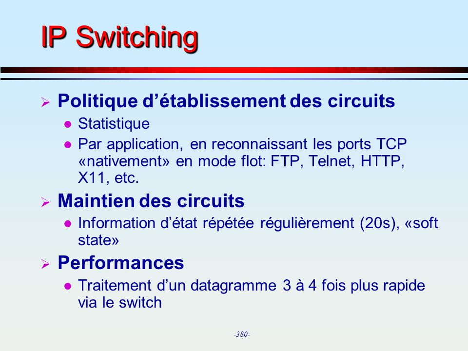 IP Switching Politique d'établissement des circuits
