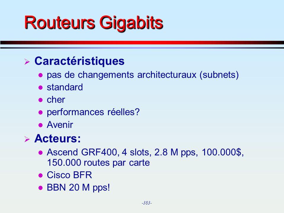 Routeurs Gigabits Caractéristiques Acteurs: