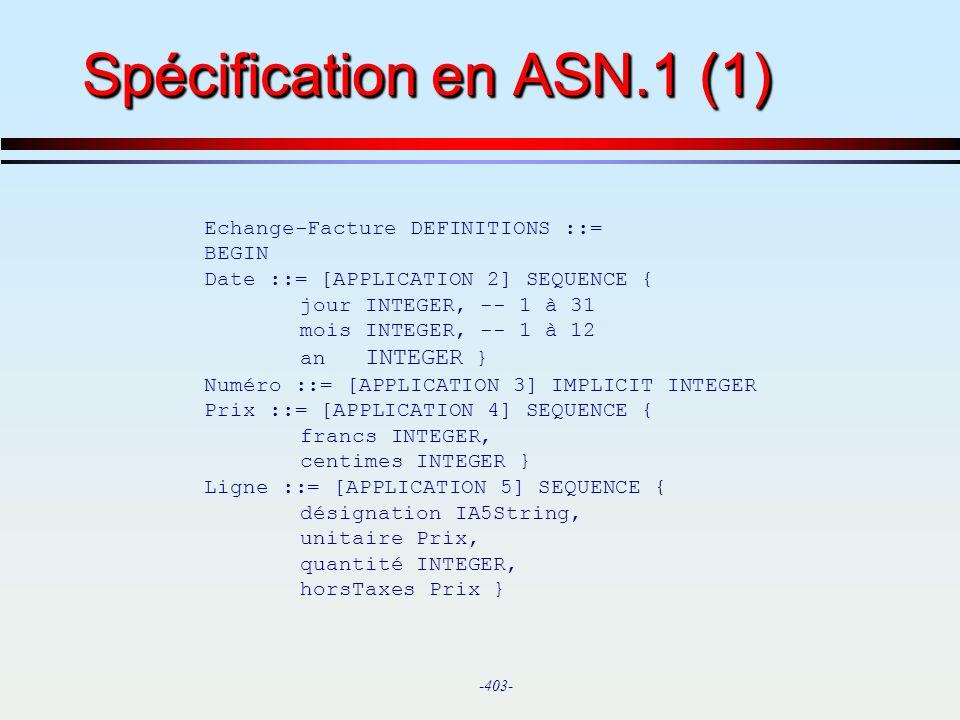 Spécification en ASN.1 (1)