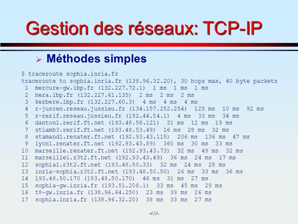 Gestion des réseaux: TCP-IP
