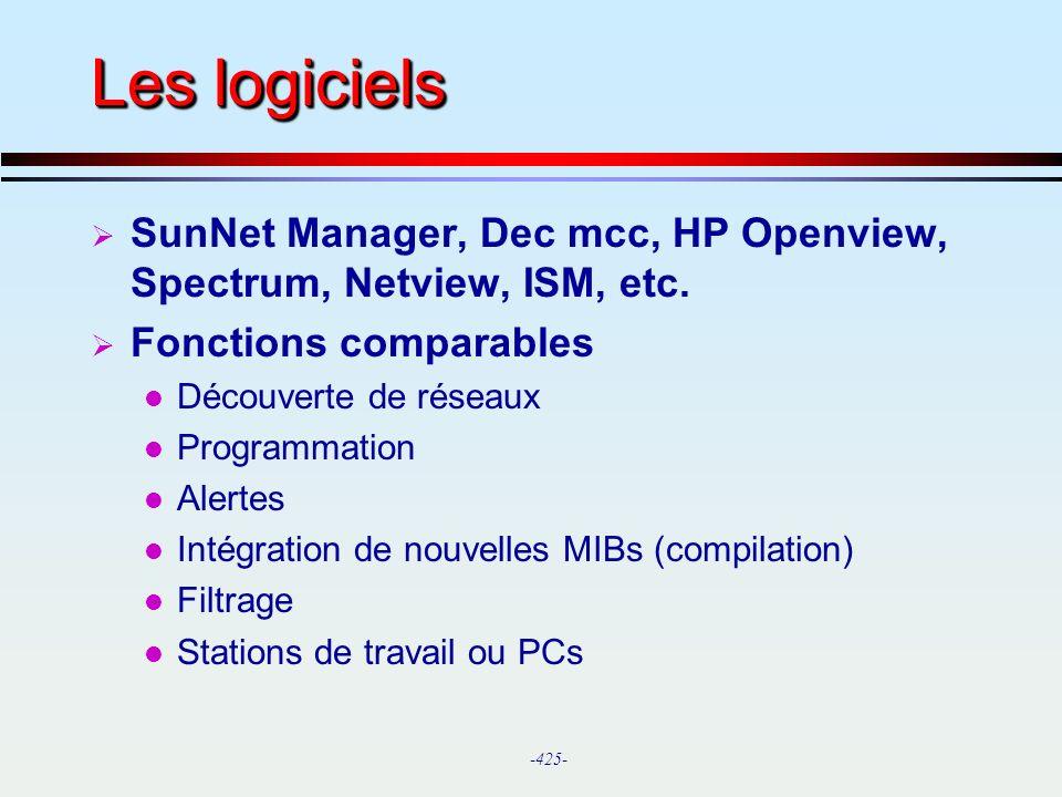 Les logiciels SunNet Manager, Dec mcc, HP Openview, Spectrum, Netview, ISM, etc. Fonctions comparables.