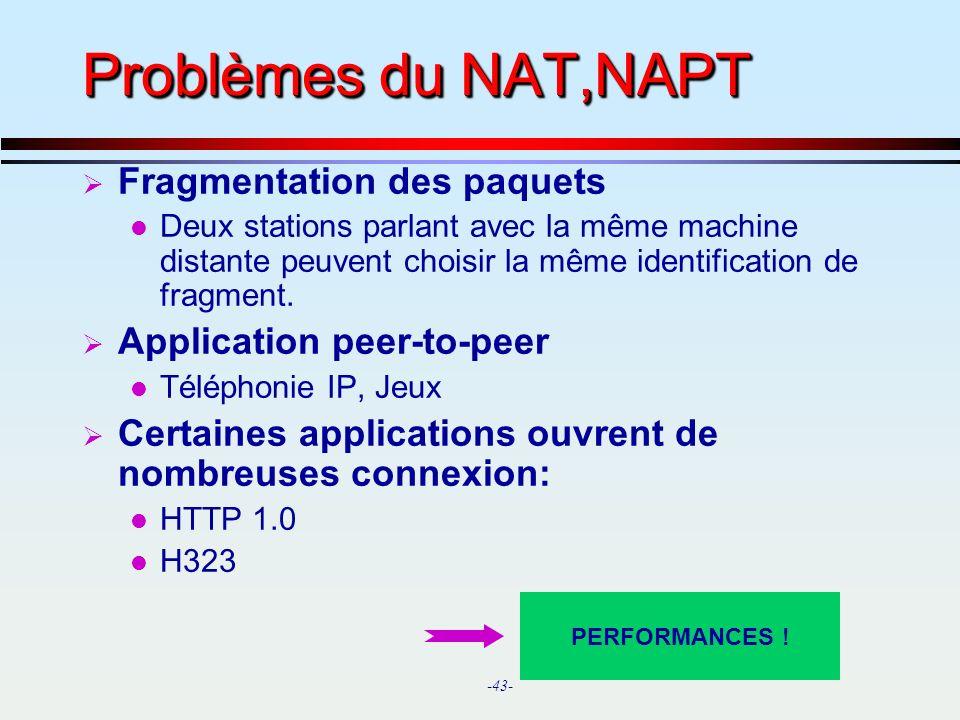 Problèmes du NAT,NAPT Fragmentation des paquets