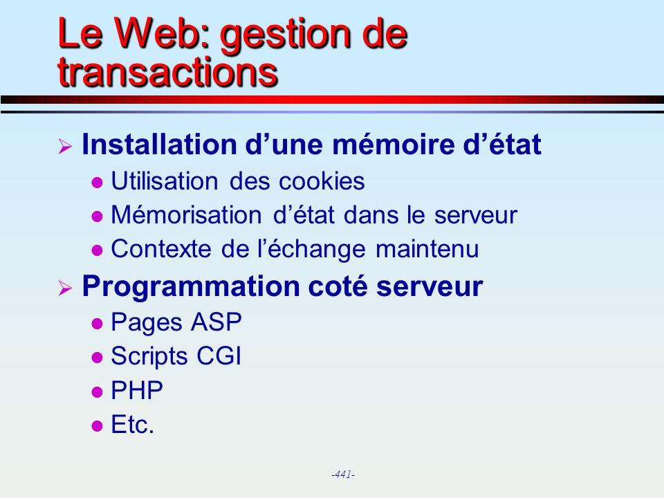 Le Web: gestion de transactions