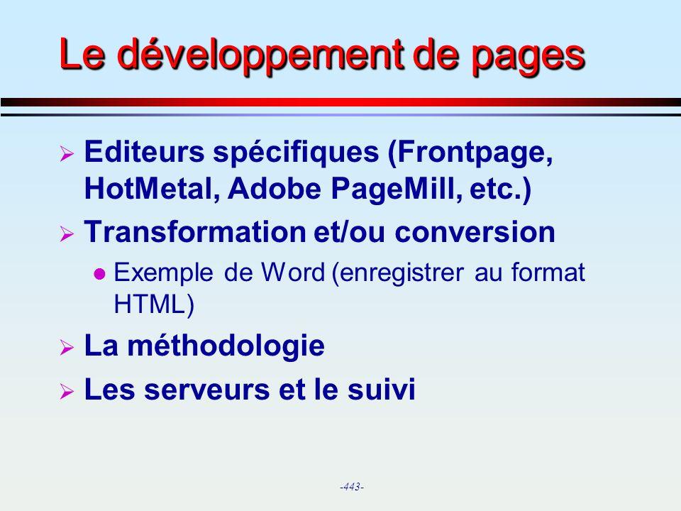 Le développement de pages