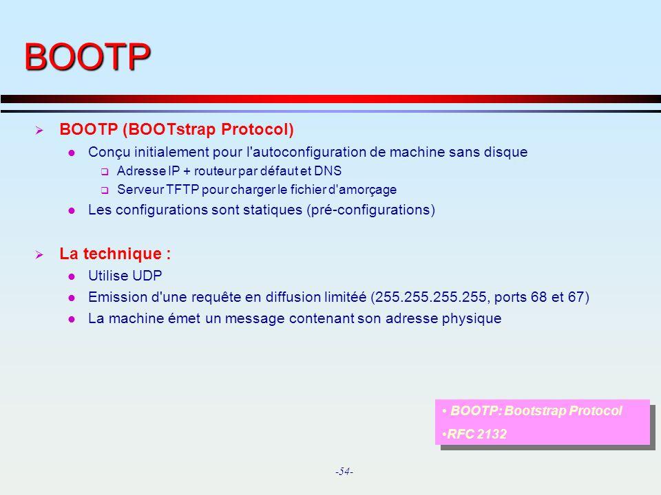 BOOTP BOOTP (BOOTstrap Protocol) La technique :