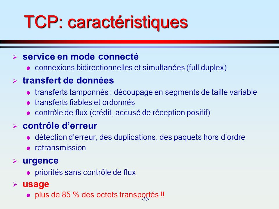 TCP: caractéristiques
