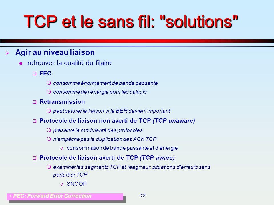 TCP et le sans fil: solutions