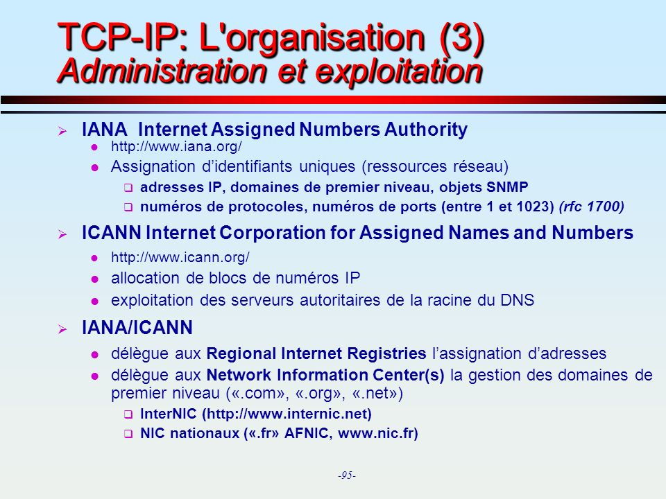 TCP-IP: L organisation (3) Administration et exploitation